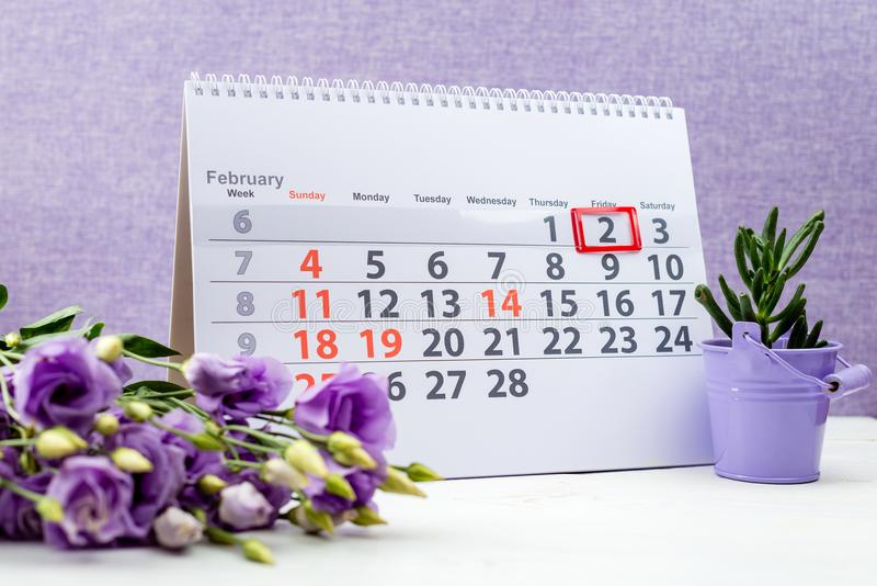 Groundhog day. February 2 mark on the calendar on purple backgr. Ound r stock photo