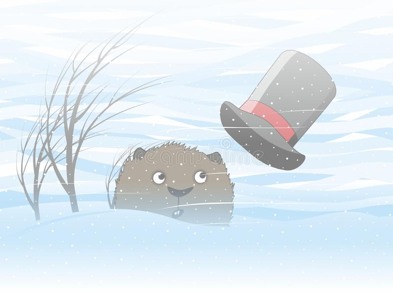 Groundhog Day. Groundhog sadly looking at snowfall. Spring will not soon