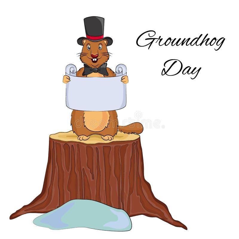 Groundhog Day-Karikaturdesign Nett in einem Hut und in einer Fliege, die Rolle halten vektor abbildung