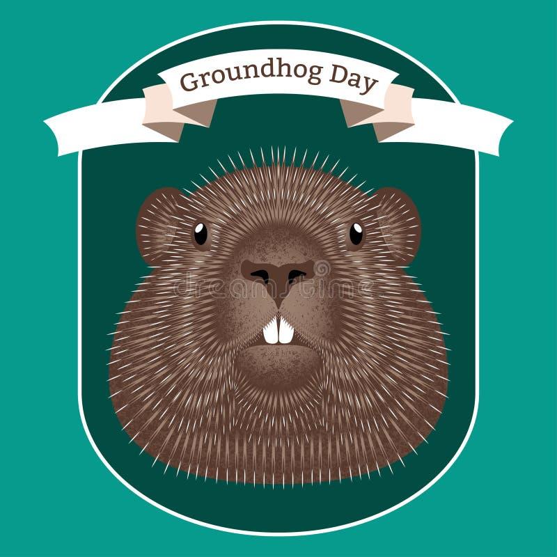 Groundhog Day Konzept-Nationalfeiertag in den USA und im Kanada Vektorillustration des Gesichtes des Tier-groundhog stock abbildung