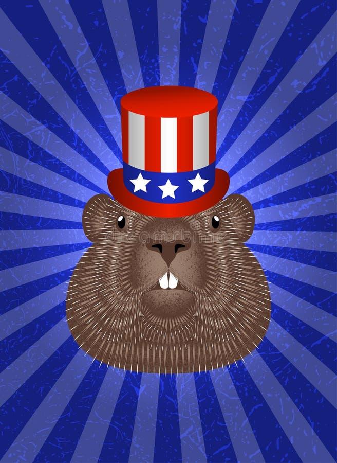 Groundhog Day Konzept-Nationalfeiertag in USA Groundhog-Kopf im Zylinder Symbolische Flagge von USA - rote Streifen, weiß stock abbildung