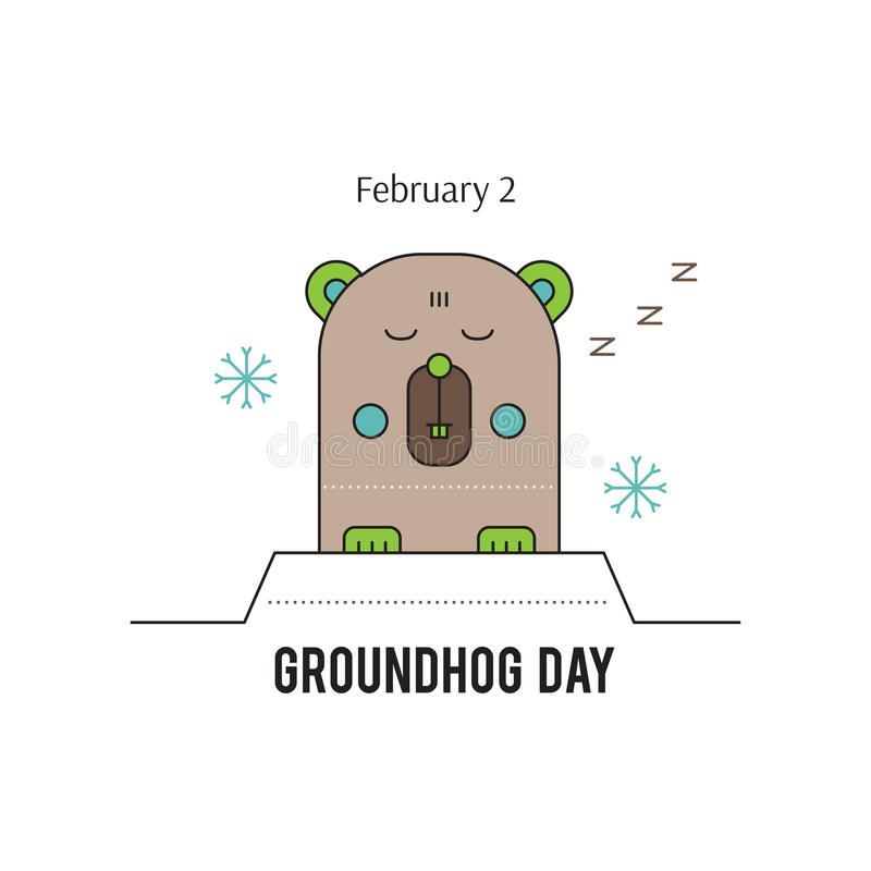Groundhog day line icon vector illustration