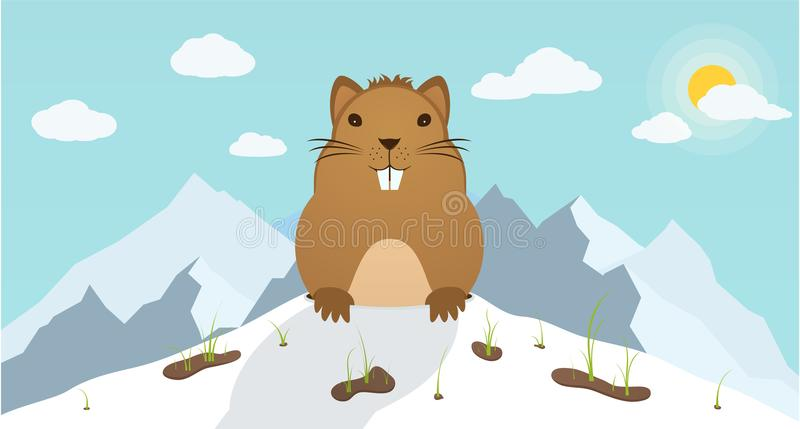 Groundhog Day. Marmot climbed out of hole on background mountains. vector illustration