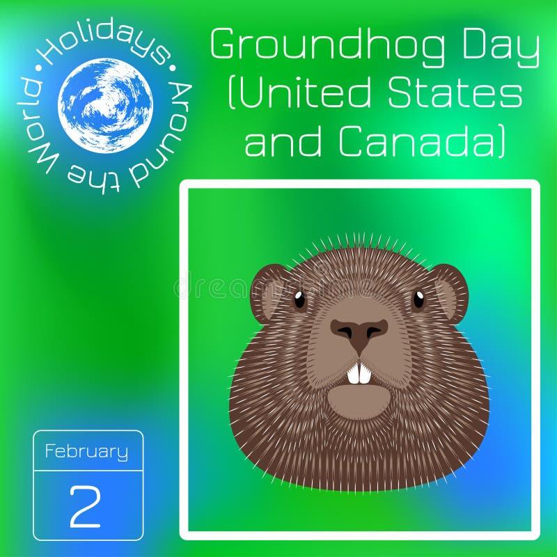 Groundhog Day Nationalfeiertag in den USA und im Kanada kalender Feiertage auf der ganzen Welt Ereignis jedes Tages Grün lizenzfreie abbildung
