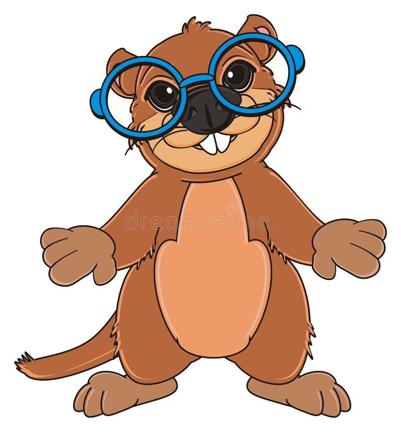 Groundhog in den Gläsern vektor abbildung