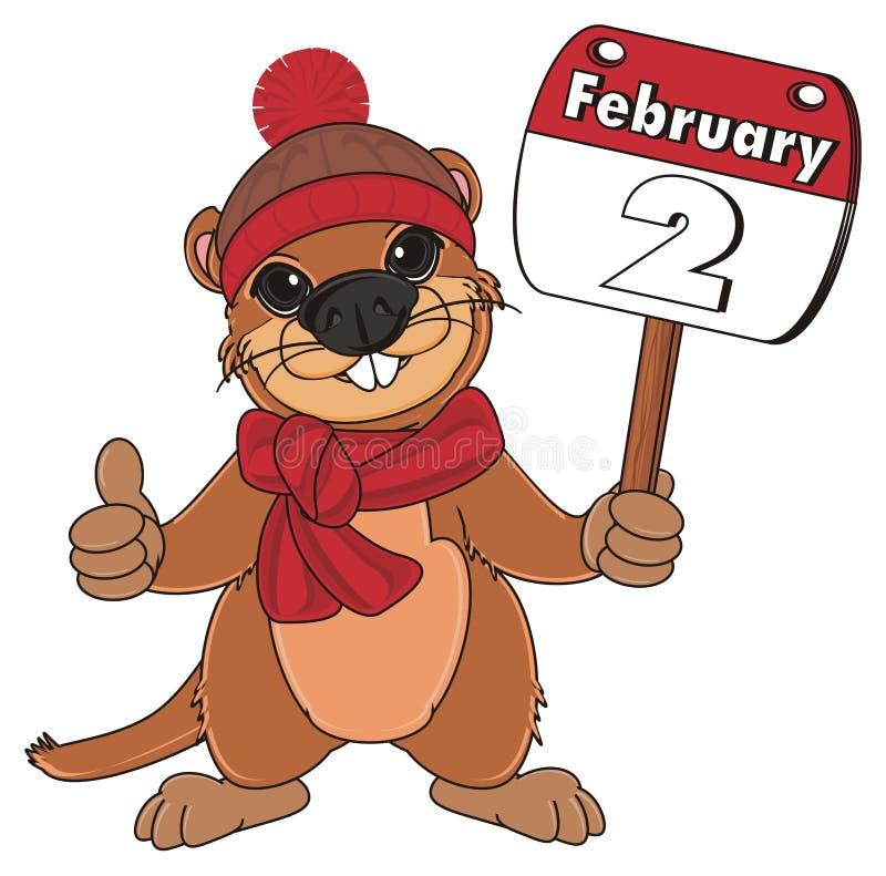 Groundhog in der Kleidung mit Kalender lizenzfreie abbildung