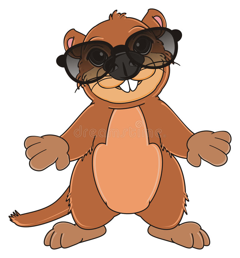 Groundhog in der Sonnenbrille lizenzfreie abbildung