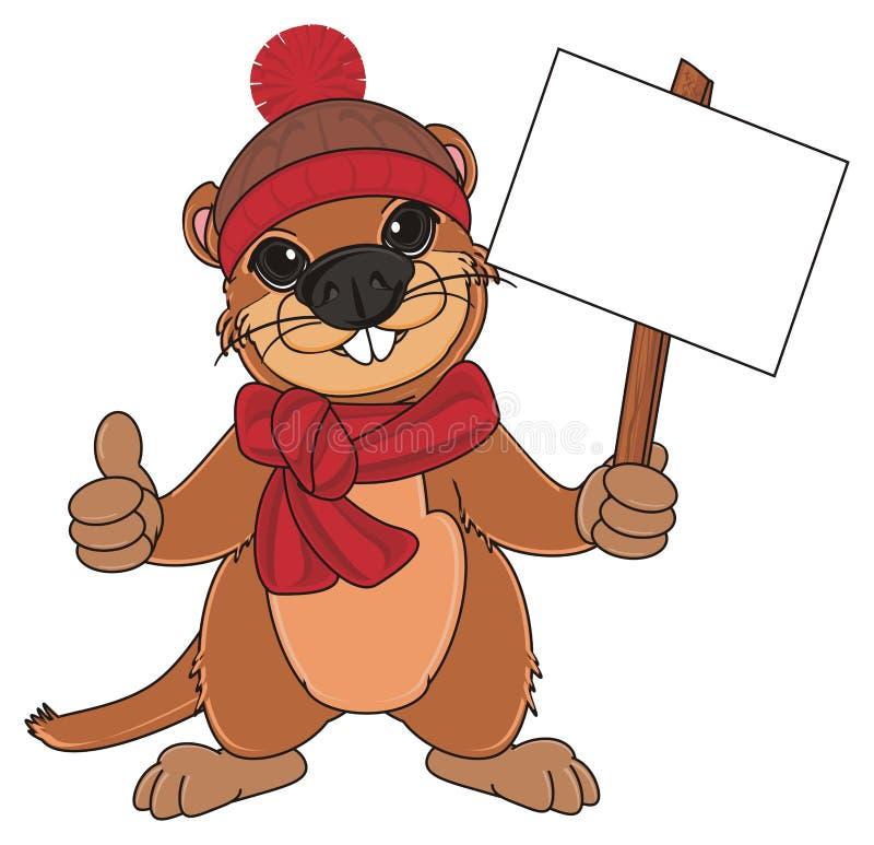 Groundhog in der Winterkleidung mit Platte vektor abbildung