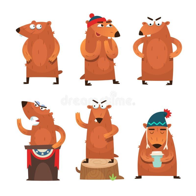 Groundhog dnia charaktery ilustracja wektor