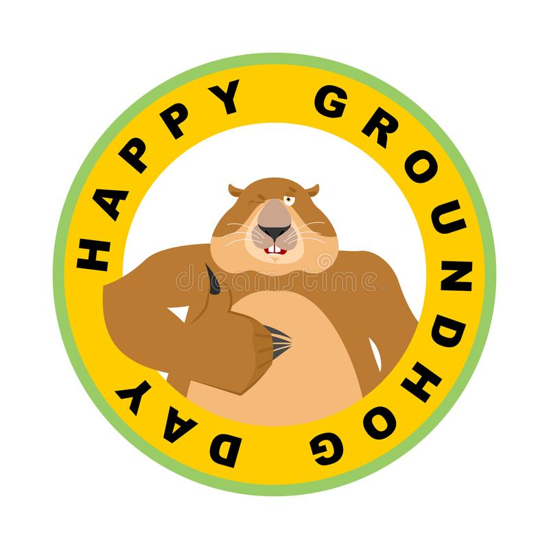 Groundhog dnia emblemat Groundhog mrugnięcia i aprobaty woodchuck ilustracja wektor