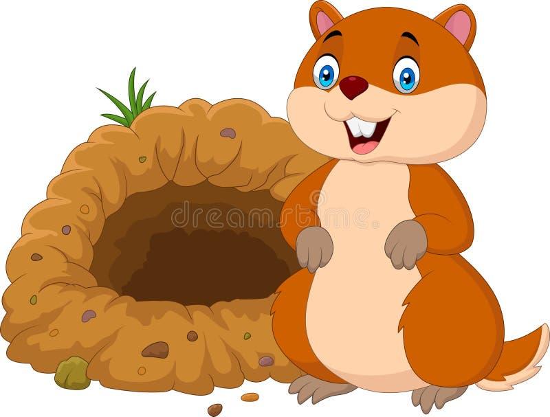 Groundhog dos desenhos animados na frente de seu furo