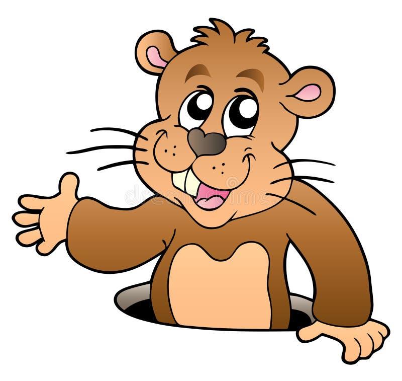 Groundhog Dos Desenhos Animados Que Espreita Do Furo Fotos de Stock