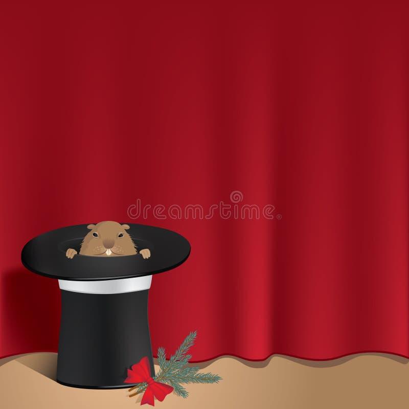 Groundhog in einem Zylinder lizenzfreies stockfoto