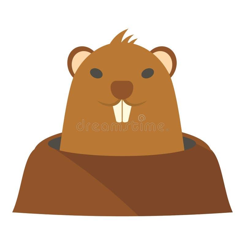 Groundhog en el icono del agujero, estilo plano ilustración del vector