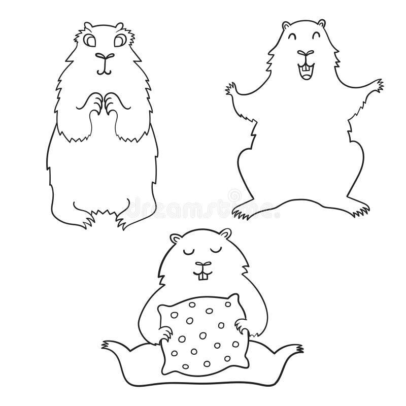 Groundhog fresco alegre dos desenhos animados Dia de Groundhog ilustração do vetor