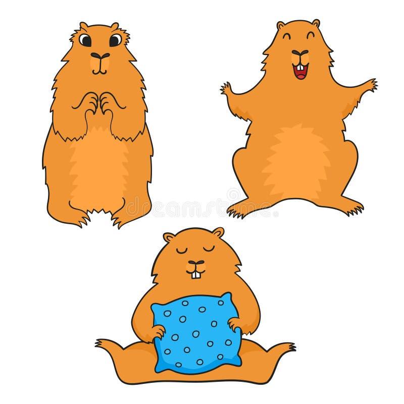Groundhog fresco alegre dos desenhos animados Dia de Groundhog Illustrat do vetor ilustração do vetor