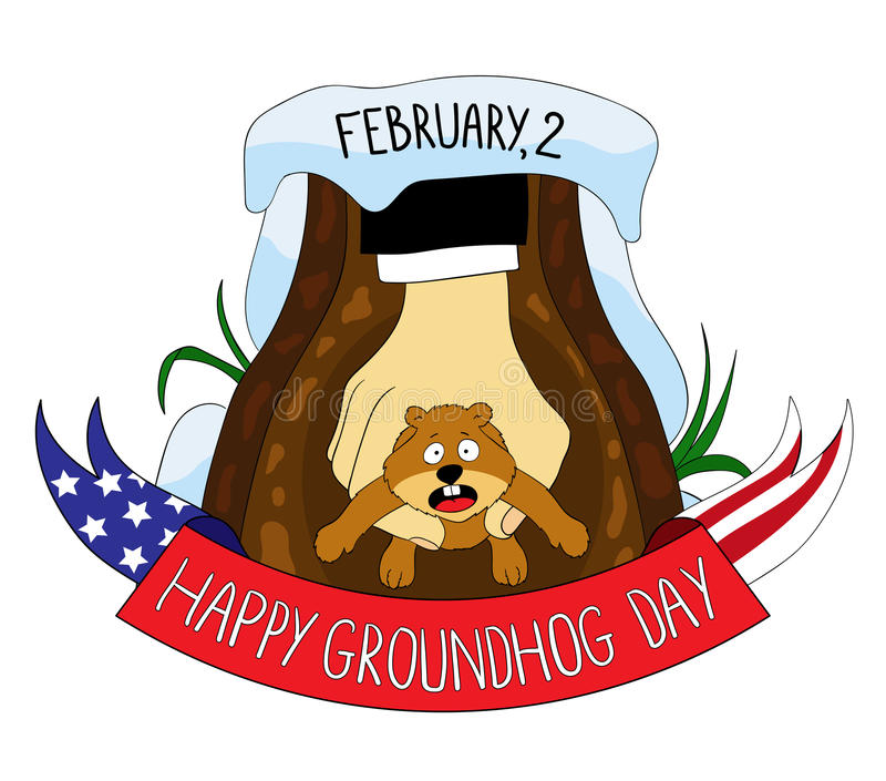 groundhog Giorno della marmotta felice illustrazione vettoriale