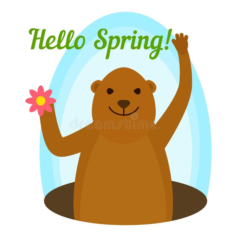 Groundhog hello spring icon, flat style vector illustration