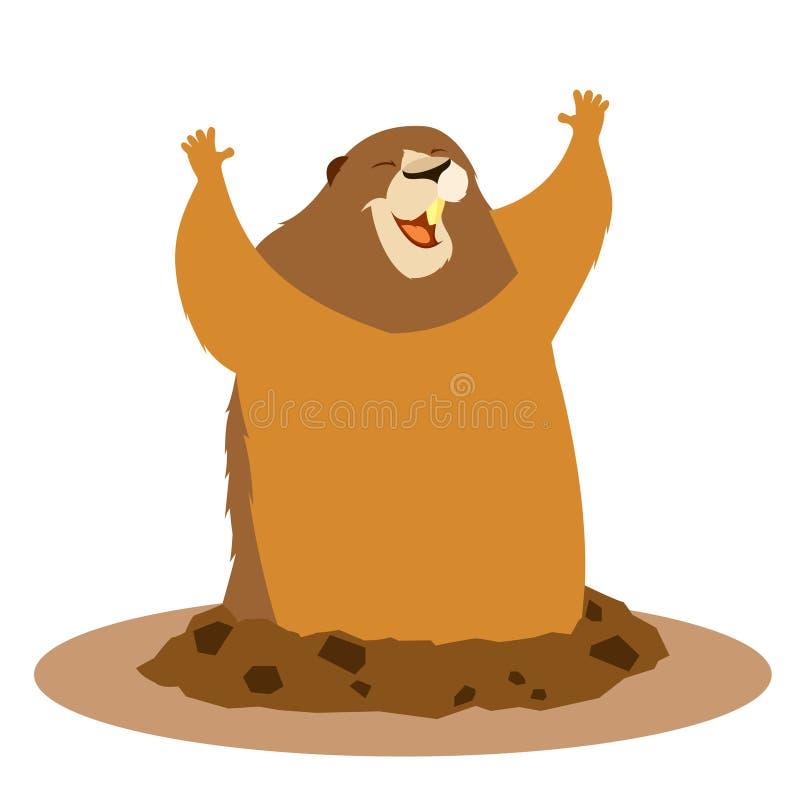 Groundhog heureux de salutation illustration libre de droits
