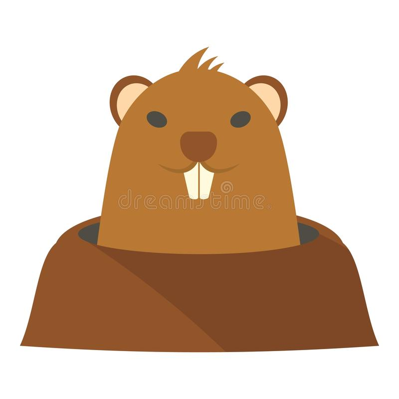 Groundhog in hole icon, flat style vector illustration