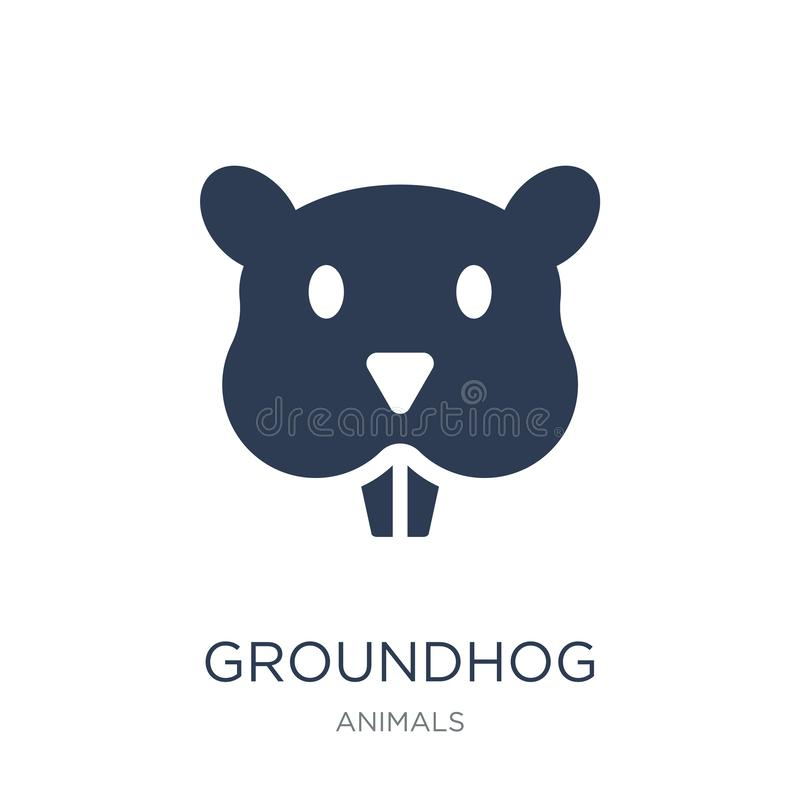 Groundhog icon. Trendy flat vector Groundhog icon on white background from animals collection vector illustration