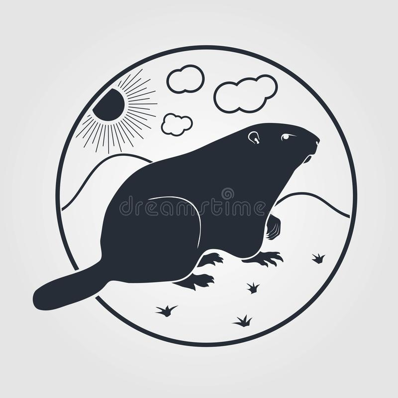 Groundhog icon on a white background. Vector illustration stock illustration