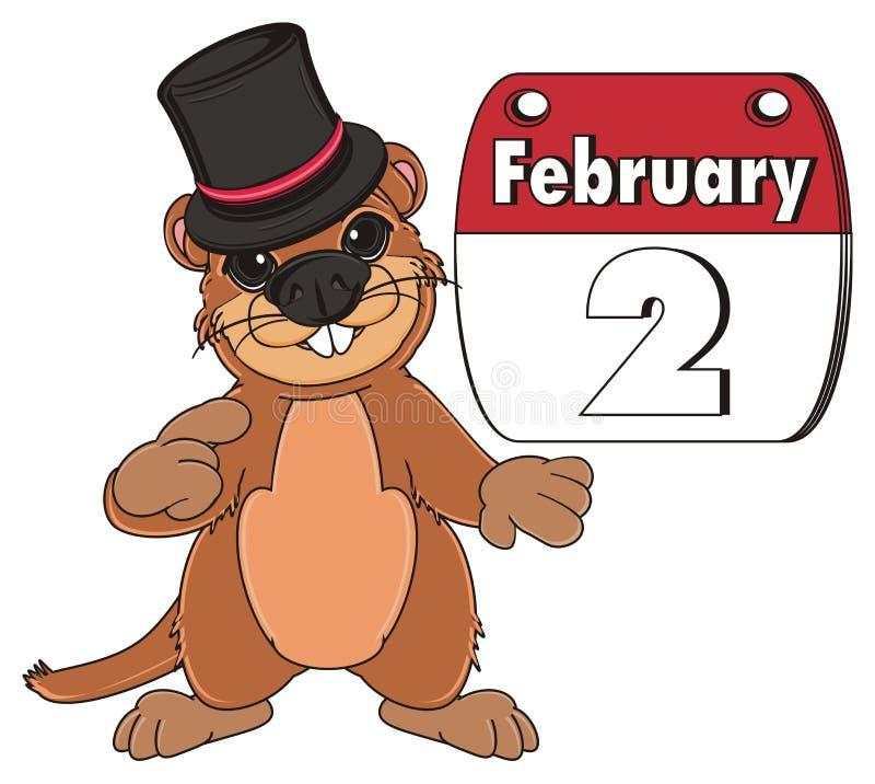 Groundhog im Hut und mit Kalender vektor abbildung