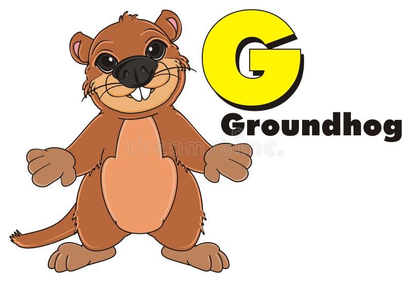 Groundhog mit Aufschrift und Symbol stock abbildung