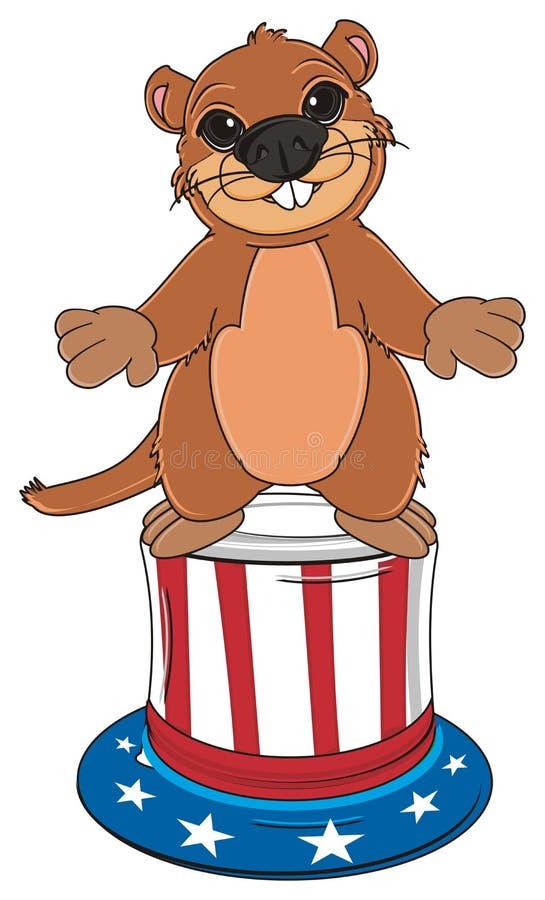 Groundhog mit großem Hut lizenzfreie abbildung