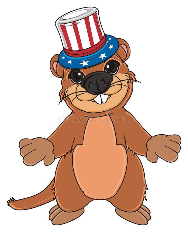 Groundhog mit Hut vektor abbildung