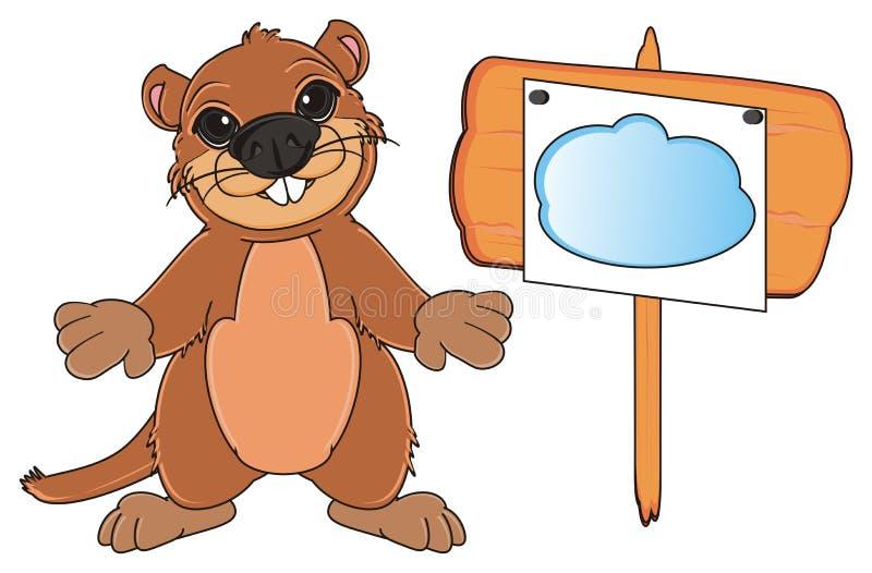 Groundhog mit Papier O die Platte vektor abbildung