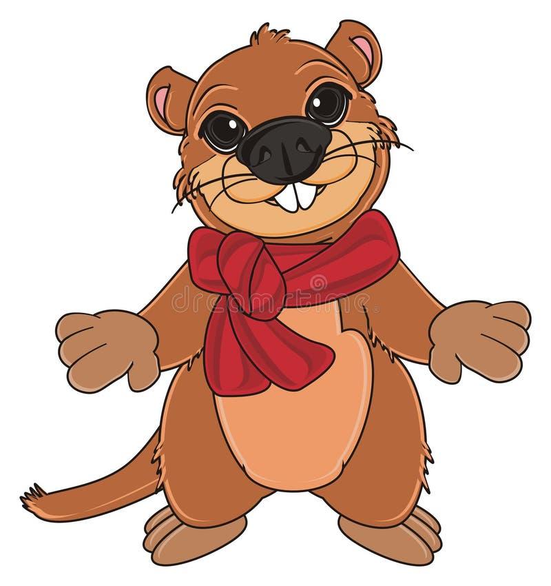 Groundhog mit Schal vektor abbildung