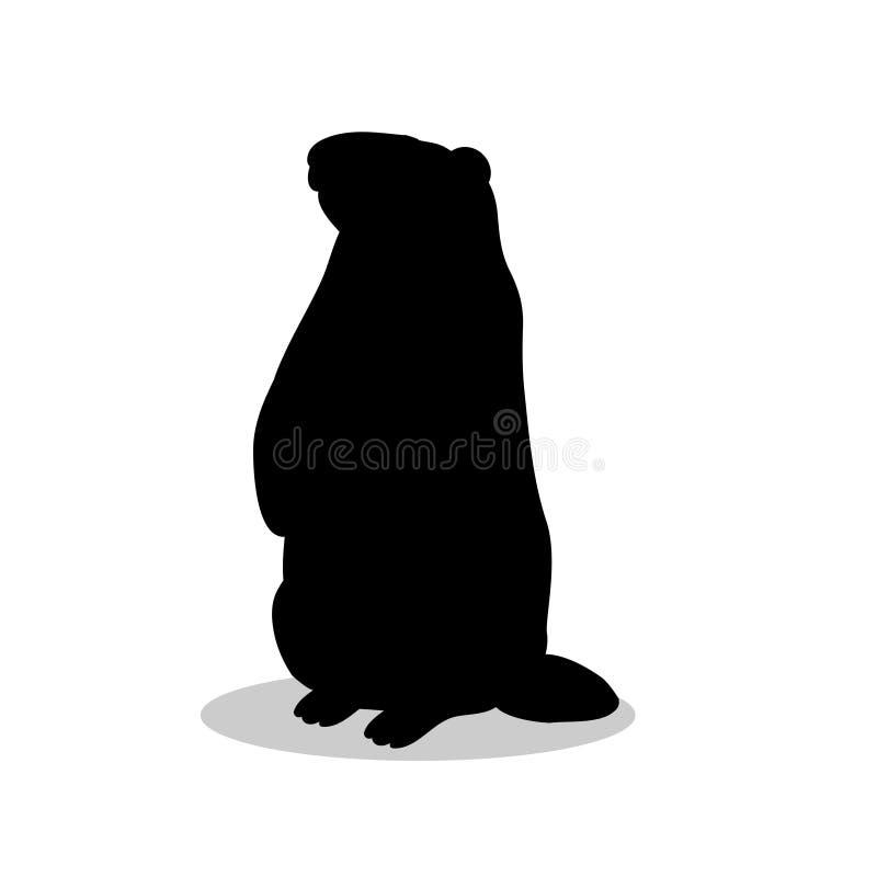 Groundhog-Nagetierschwarz-Schattenbildtier vektor abbildung