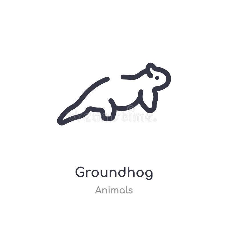 groundhog outline icon. isolated line vector illustration from animals collection. editable thin stroke groundhog icon on white vector illustration
