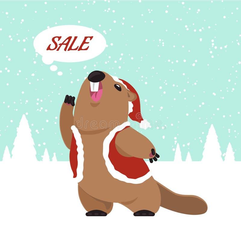 Groundhog prevê que logo venda ilustração stock