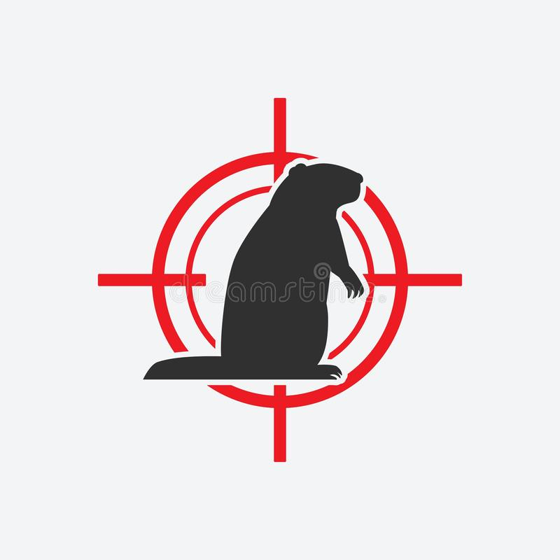 Groundhog silhouette. Animal pest icon red target royalty free illustration
