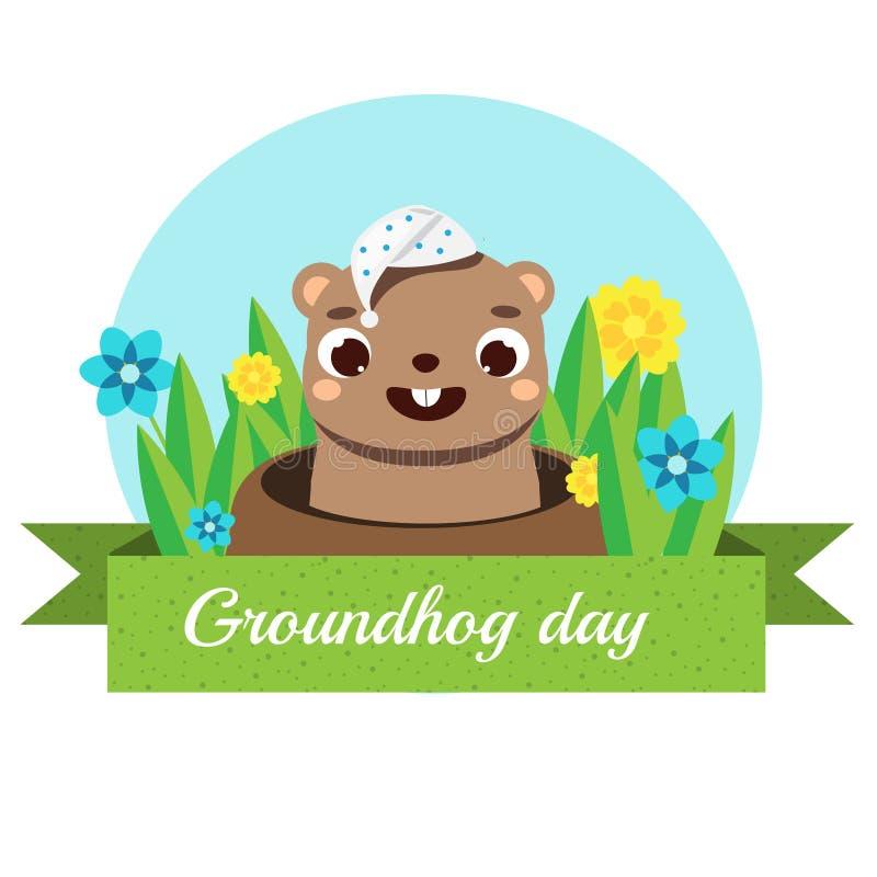 Groundhog-Tagesgrußfahne Saisonkalenderkarte mit Karikatur schläfrigem groundhog, das heraus vom Loch schaut stock abbildung