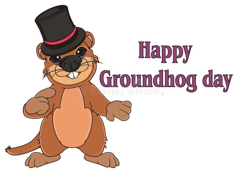 Groundhog und Aufschriftfeiertag lizenzfreie abbildung