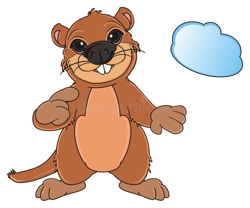 Groundhog und blauer Gegenstand lizenzfreie abbildung