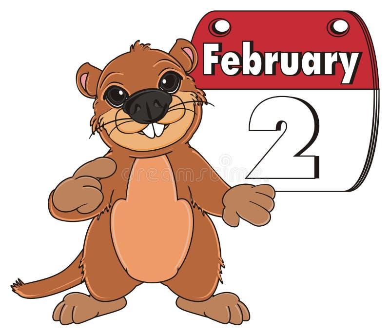 Groundhog und Kalender stock abbildung