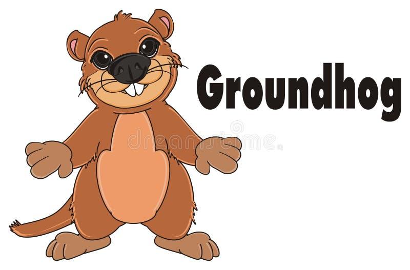 Groundhog und schwarze Zeichen stock abbildung