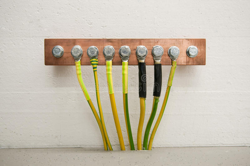 Grounding with cables stock photos