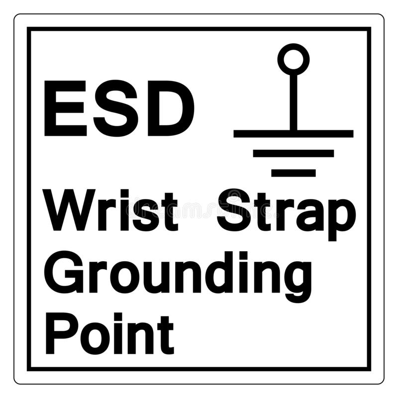 Grounding Point Symbol Sign Isolate On White Background,Vector Illustration EPS.10. Electrostatic, icon, esd, device, sensitive, discharge, hand, equipment stock illustration