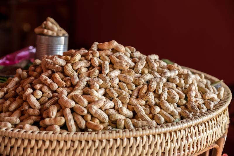 Groundnut. Boiled groundnut in the basket royalty free stock image