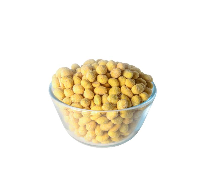 Groundnut with glaze. Groundnut with yellow glaze in bowl on white background isolated royalty free stock photography