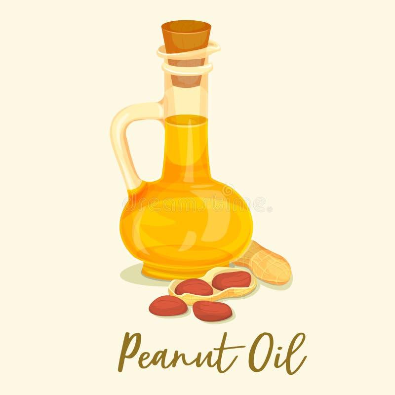 Groundnut lub arachidowy olej w butelce lub słoju blisko dokrętki ilustracji