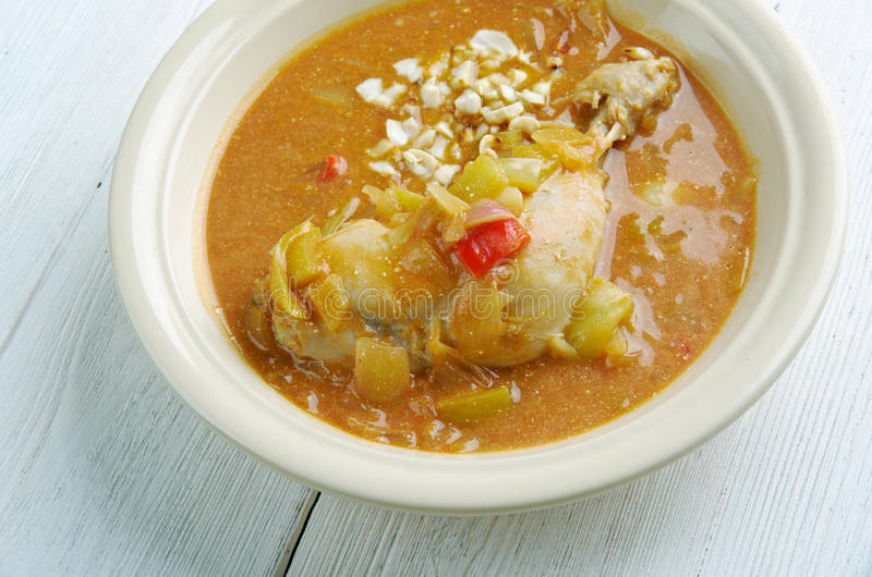 Groundnut Soup. West Africa Spicy Chicken Peanut Soup . popular Ghanaian soup royalty free stock photography