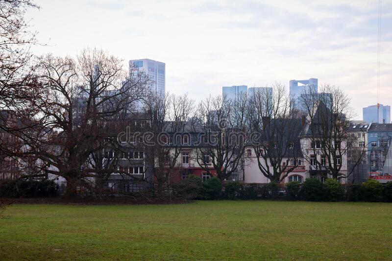Grounds at goethe university. Row of houses behind the grounds at Goethe University in Frankfurt am Main, Germany with skyscrapers in the background royalty free stock photo