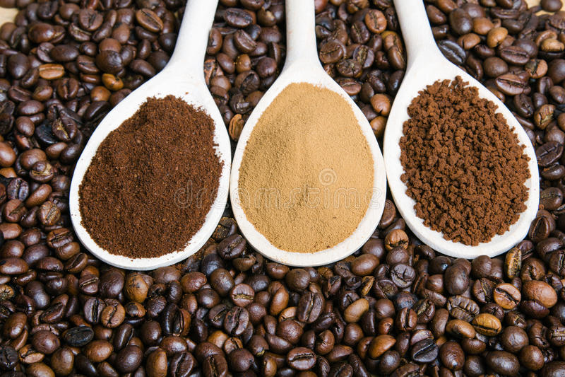 grounds, instant, powder, coffee beans stock photography