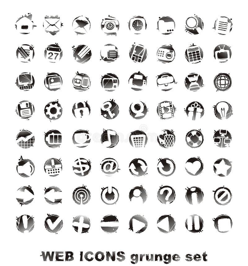grounge ikony ustawiają sieć zdjęcia stock